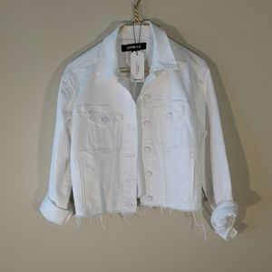 Express frayed cropped wht distressed jacket  szs